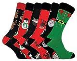 Sock Snob FESTIVE FEET - 6 Pares Hombre Finos Vestir Algodon Calcetines Navidad (6 Pairs, 39-45 EU)