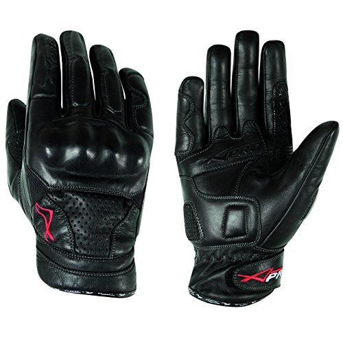 A-pro - Guantes de piel con protección para nudillos, para verano, carrera, motocross Quad MX, color negro M