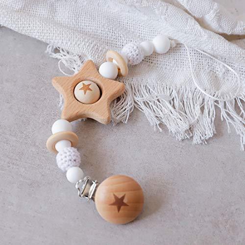 Mamimami Home 1pc Bebé Pentagrama De Madera Chupete Clip BPA Libera Blanco Crochet Beads Para Niños Accesorios Juguetes