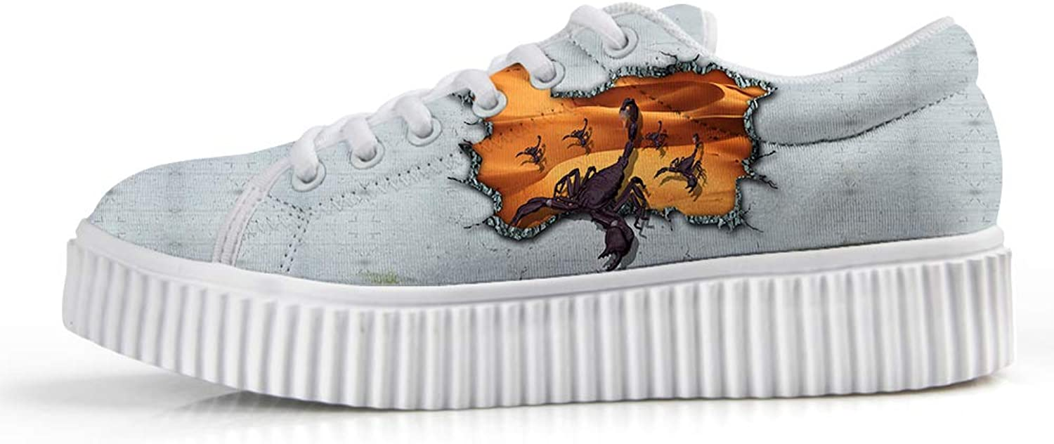 Owaheson Platform Lace up Sneaker Casual Chunky Walking shoes Low Top Women Desert Scorpion Army Breakthrough Defense