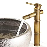 Tall Single Lever Antique Brass Bamboo Bathroom Sink Basin Mixer Tap,12inch