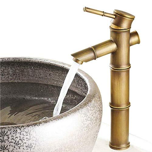 Wasserhahn Bad Armatur Waschtischarmatur,Vintage Bambus Wasserhahn Antik Bronze Full Copper Wasserhahn Küche Badezimmer Hotel Waschbecken Wasserhahn,Premium-Qualität Keramikventil