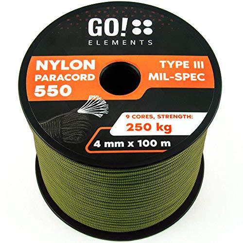 GO!elements 100m Paracord Seil aus reißfester Nylonschnur - 4mm Paracord 550 Typ III Schnur - geeignet als Allzweckseil & Reepschnur | Max. 250kg, Farbe:Oliv