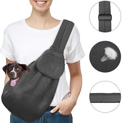 Nasjac Pet Carrier, Welpen Katze Hand frei Sling Carry Hund Papoose Carrie Einkaufstasche mit Front Tasche Sicherheitsgurt verstellbar gepolstert Schultergurt