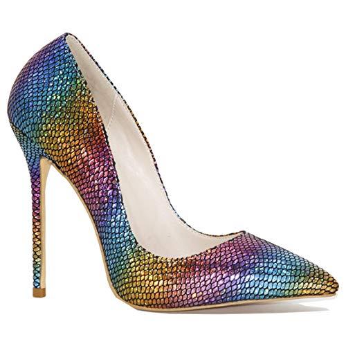 LK-HOME Tacones Altos, Tacones Altos De Moda para Mujer, Tacones De Aguja De Punta Puntiaguda con Patrón De Serpiente Colorida, Zapatos De Vestir De Fiesta Moda,CN43