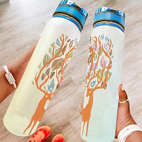 Banniyouall Deer Tree Vector Deportes Botella de Agua Grande Plástico Botella de Agua Durable Regalos Para Amigos Blanco 1000ml