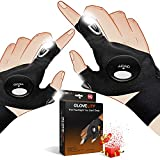 NVJJ Flashlight Gloves Gadgets Gifts for Dad Men, Fingerless LED Light Fishing Gloves for Repairing Working Night Running Camping Hiking in Dark Place Outdoor, Gifts for Fathers Day Husband Guy