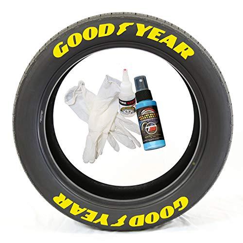 Tire Stickers Pegatinas para Llantas Goodyear con pie de ala - Kit de Letras de Goma Permanente para neumáticos con Pegamento/Estilo Nascar (Paquete de 8)