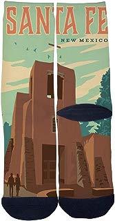 Men's Women's Custom Crew Socks Vintage New Mexico Santa Fe Poster Socks Colorful Patterned Comfortable Socks