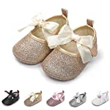 ENERCAKE Infant Baby Girls Shoes Non-Slip Bowknot Princess Dress Mary Jane Flats Toddler First Walker Baby Sneaker Shoes(6-12 Months Infant, I-Gold)