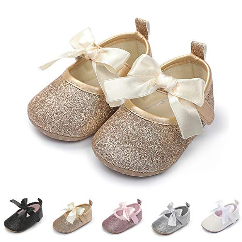 Baby Girls Mary Jane Flats with Bowknot Soft Sole Non-Slip Toddler Infant First Walker Princess Dress Shoes (6-12 Months Infant, A-Gold)
