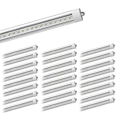 Lediary 25 Pack LED Tube Light 8ft, for T8 or T12 Flourescent Light Bulbs (120W) Replacement, 45W, FA8 Single Pin Base, 5200LM 5000K, Dual Ended Power, Ballast Bypass