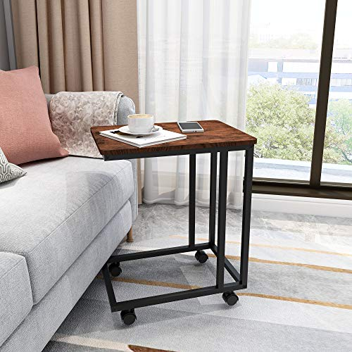 HOJINLINERO Sofa Side End Table Metal Side Table for laptop coffee table sofa table with Rolling Casters C Shaped Table for Sofa Couch Bed Living Room Bedroom,BROWN