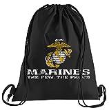 Camiseta de People US Marine Corps USMC Bolsa de Deporte–Serigrafiado Bolsa–Una Bonita Funda Bolsa De Deporte con Bordados, Color Negro, tamaño Talla única