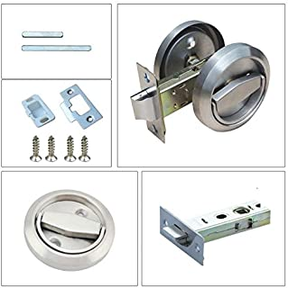 Stainless Steel 304 Corridor Locks Doorknobs Cabinet Furniture Hidden Recessed Cup Install Privacy Sliding Door Lock Without Keys Pack of 1