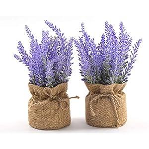 Silk Flower Arrangements LODESTAR Artificial Lavender Flowers in Burlap Cloth Mini Pot Indoor Outdoor Home Bathroom Office Decoration Set of 2 Purple