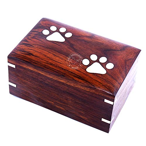 professional Brass inlaid ash jar, paw, dog, cat rosewood, ash jar, cremation photo jar in a wooden box (medium: 7.5 x 5.5 x 3.5 inches – 100 pounds or 45 kg, two legs )