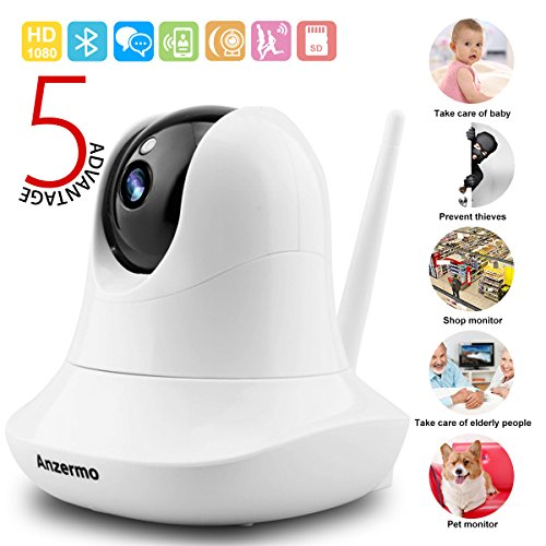 Security Camera System Surveillance Baby Nanny Pet Garage,Two Way Audio Pet Cameras Wireless Home Indoor HD WiFi Baby Monitor with Motion Detection Night Vision for Elder Office Shop (White)