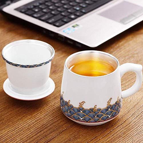Tazas de café Taza de té de color esmaltado Taza personal de cerámica Taza de trazador de líneas de la taza de té de oficina con tapa 350-405ml Ideal para té Café (Color: Blanco, Tamaño: 350-450ml)