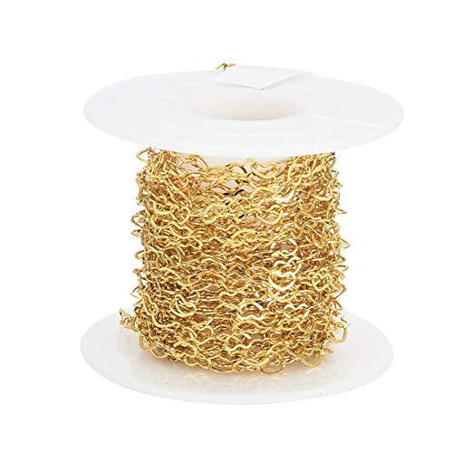 5 m/roll real 18 K chapado en oro corazón cadenas de eslabones de 3 x 5 mm de latón cadenas de cable para gargantilla pulsera collares fabricación de joyas