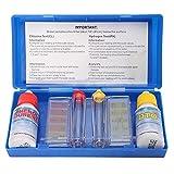 Kit de prueba de calidad del agua Agente 1 set PH Cloro-Kit de prueba de hidroherramienta Accesorios para el tratamiento de piscinas y spa, medidas PH, alcalinas y cloro