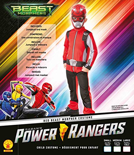 Rubie's Official Power Rangers, Beast Morphers Costume - Red Ranger Childs Classic Costume Medium, 5-6 years