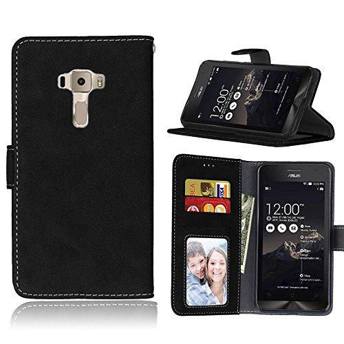 Funda Asus ZenFone 3 ZE552KL 5.5inch ,Bookstyle 3 Card Slot PU Cuero cartera para TPU Silicone Case Cover(Negro)