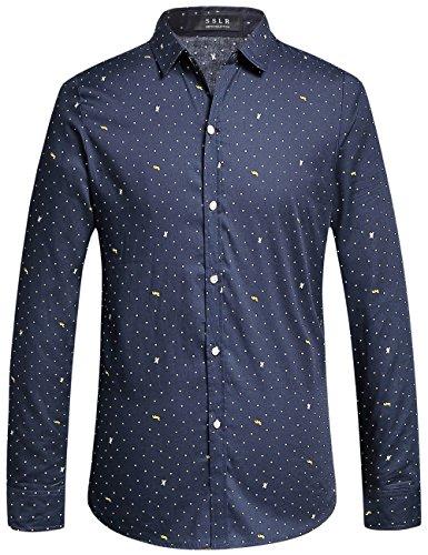 SSLR Camisa Slim Fit para Hombre Manga Larga Casual a Lunares (Small, Navy)