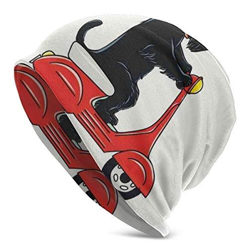 Beanie Men Women - Ilustración de un Scooter de Perrito con diseño de cómic de Globo de Texto de Woof Woof - Gorra de Gorro de Punto con Calavera Lisa Unisex con puño Unisex