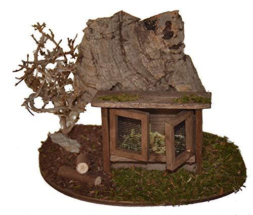 Krippenzubehör Krippenstall Hasenstall vor Strauch und Felsen aus Kork BZW. Baum-rinde - ohne Tiere