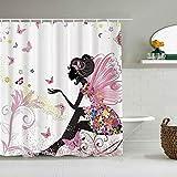 AIKIBELL Personalisierter Duschvorhang,Mode-Feen-Mädchen mit Flügeln in einem Blumenkleid-Fantasie-Garten, der Schmetterlinge fliegt,wasserabweisender Badvorhang für das Badezimmer 180 x 180cm