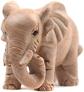 Kansoo 1PCS Wooden Small Size Elephant Statue Wood Carved Figurine Home Decorations