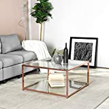 Homylin - Mesa baja rectangular de cristal transparente, mesa central con marco dorado para salón o recepción HLP 80 x 80 x 42 cm