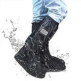 Frelaxy Waterproof Rain Boot Cover, Rain Shoe Cover, Reusable & Foldable Rain Boots with Reflector (Black, M: Women:5.5-7.5/Men:4.5-6.5)