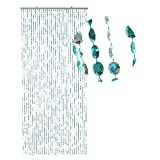 HAB & GUT -DV0358- Cortina para Puertas Diamantes, Azul-METALICO, 90 x 200 cm