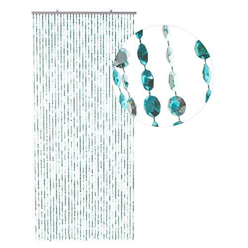 HAB & GUT -DV0358- Türvorhang DIAMANTEN Blue-METALLIC 90x200 Perlenvorhang Pailettenvorhang