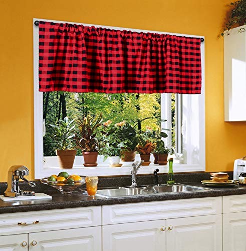 Black and Red Buffalo Check, Window Valance, Courtyad Grommet Window Curtain Valances, for Kitchen, Living Room, 72 x 16 in, Pack of 2