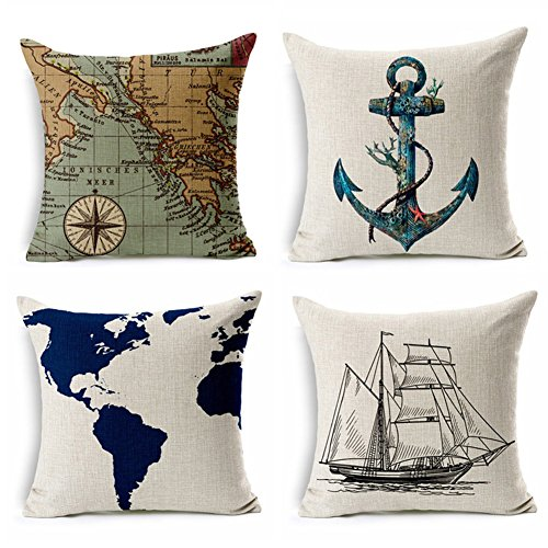 "YANGYULU Geography Theme Cotton Linen Home Decorative Throw Pillow Case Cushion Cover for Couch Sofa Bed 18"" x 18"" 4 Pack - 1xNavigation Compass + 1xSailboat + 1xMap + 1xAnchor (Nautical Theme)"
