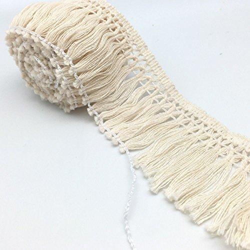 FQTANJU 10 Yards X 6cm Wide Cotton Tassel Fringe In Beige.