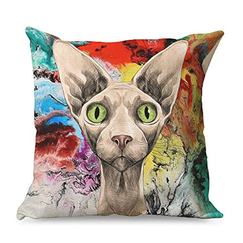 Gamoii Fundas de cojín decorativas de lino con diseño de gato y animales, con cremallera, 45 x 45 cm, color blanco
