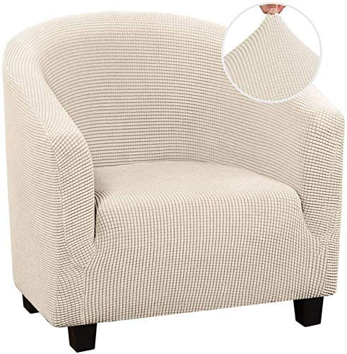 High Stretch Spandex Coffee Tub Sofa Armchair Seat Cover Protector Washable Furniture Slipcover Easy-Install Home Chair Decor (Beige)