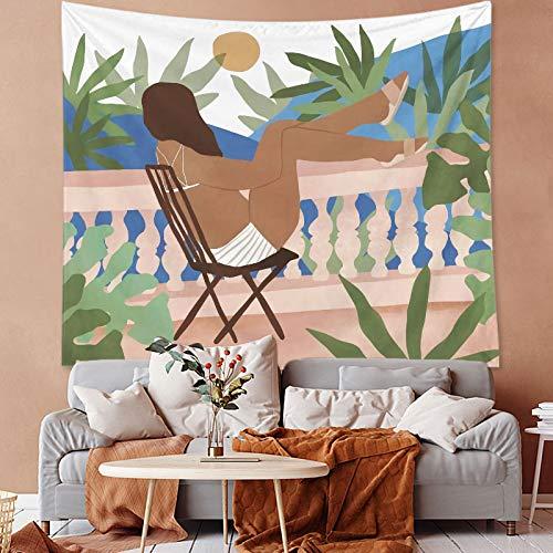 KHKJ Tapiz de Estilo Tropical Mural decoración del hogar Retrato de impresión Tapiz de Dormitorio Tela para Colgar en la Pared decoración de Dibujos Animados A4 150x130cm