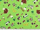 ab 1m: Kinderstoff, Baumwolle, Bauernhof 1, apfelgrün,