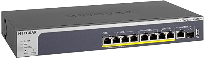 NETGEAR スイッチングハブ 10ギガビットアップリンク マルチギガ対応 10ポート スマート (PoE+x8 180W/10G SFP+x1) L2+ VLAN QoS ACL ルーティング MS510TXPP