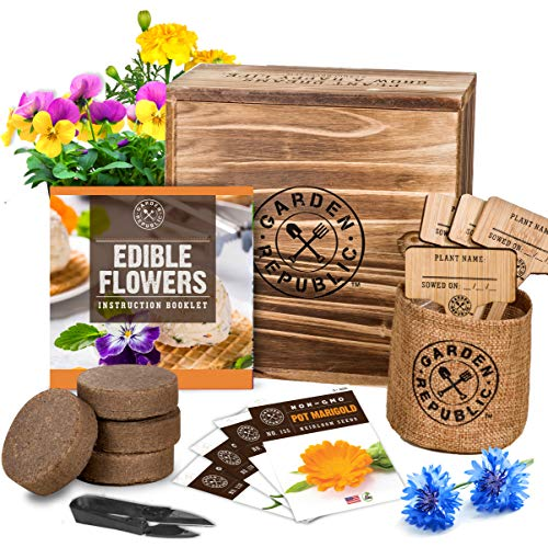 Edible Flowers Indoor Garden Seed Starter Kit - Non-GMO Heirloom Seeds for Planting, Soil, Burlap Pots, Plant Markers, Trimmers, Wood Gift Box, DIY Growing Kits, Home Gardening Gifts for Plant Lovers