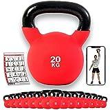 POWRX - Kettlebell ghisa 4-30 kg - Rivestimento in Neoprene & PDF Workout (20 kg)