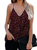 JIER Liquidación Cuello de Pico sin Mangas para Mujer Ribete de Espagueti Camisola Cami Tank Top Blusa Camisas (Rojo,S)