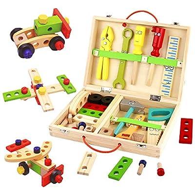 TONZE Kinder Werkzeugkoffer Holzspielzeug Werkzeugkasten-Kinderwerkzeug Lernspielzeug Werkzeug Kinder Werkzeug Koffer Kinder Kleine Geschenke für Kinder Spielzeug Jungen Kinderspielzeug 3 4 5 Jahren