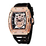 Unique Skull Watches for Men, Cool Skeleton Sports Black Men's Watches, Fashion Big Face...