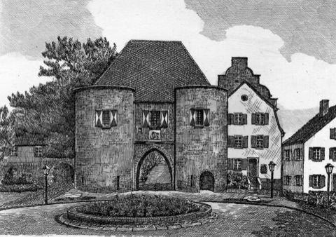 Kunstverlag Christoph Falk Einfarbige Radierung Bergheim, Aachener Tor als Loses Blatt